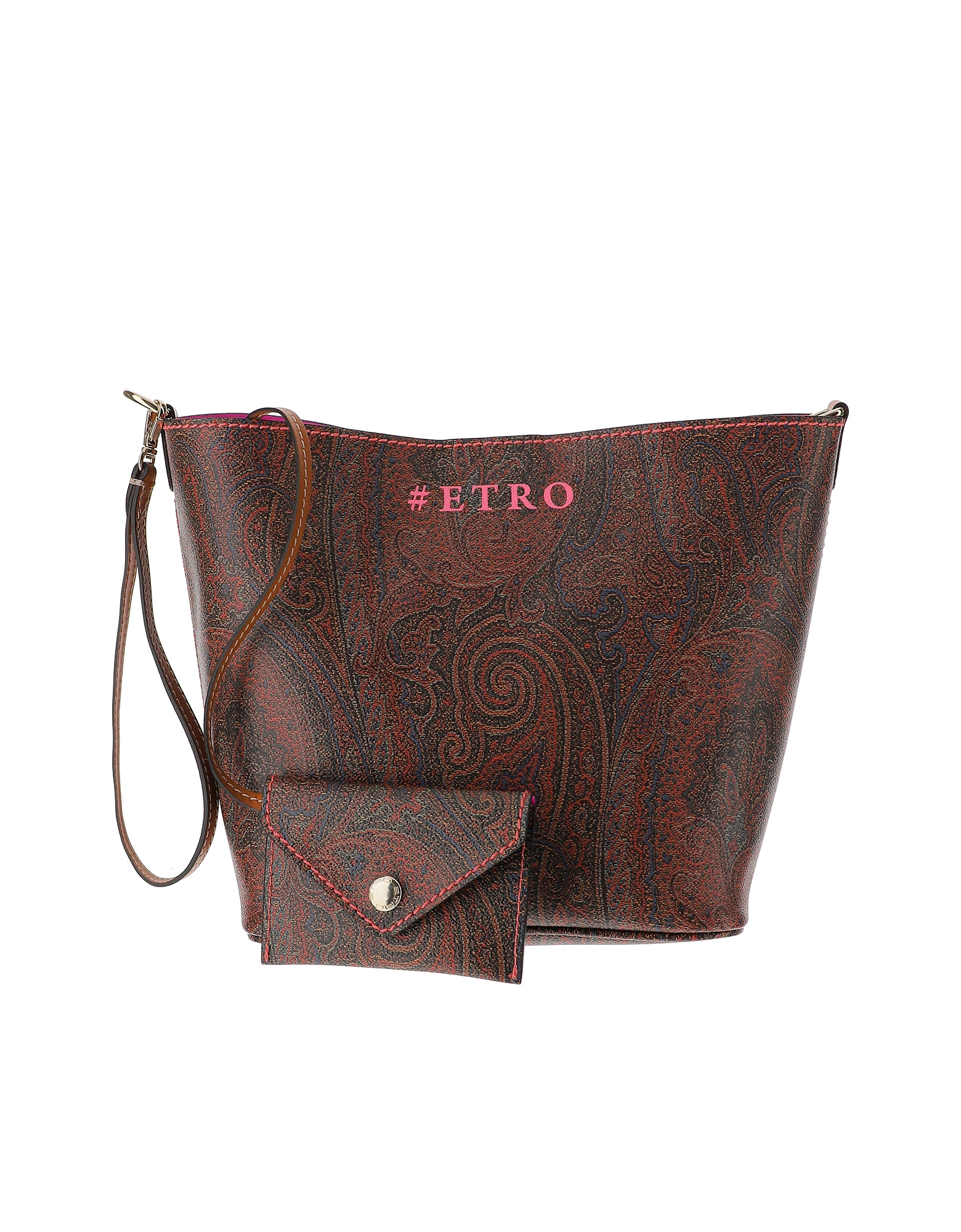 Etro Designer Handbags, Paisley Print Coated Canvas Shoulder Bag