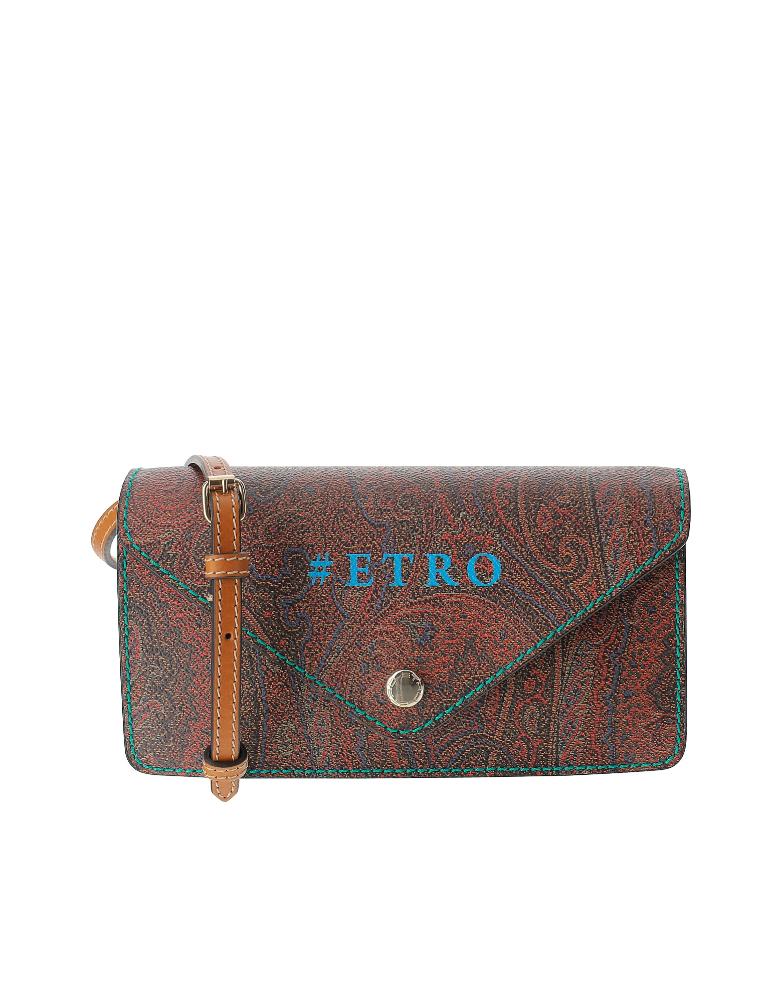 Etro Designer Handbags, Paisley Jacquard Canvas Flap Front Crossbody Bag