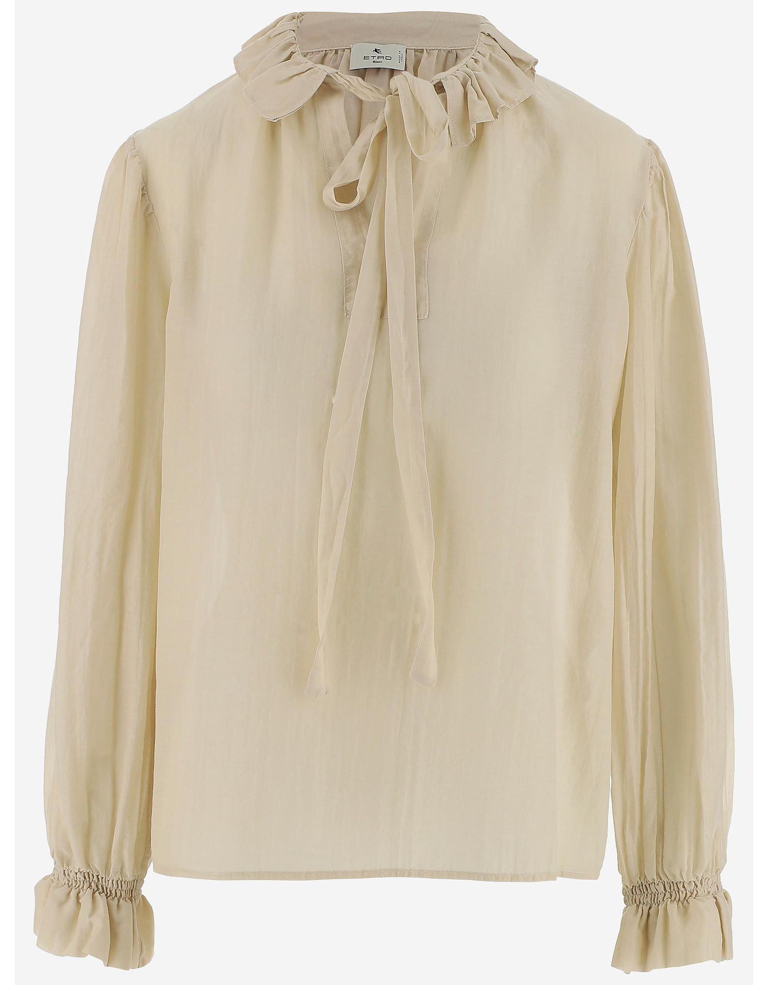 Etro Designer Shirts, Natural Cotton and Silk Blend Women's Shirt