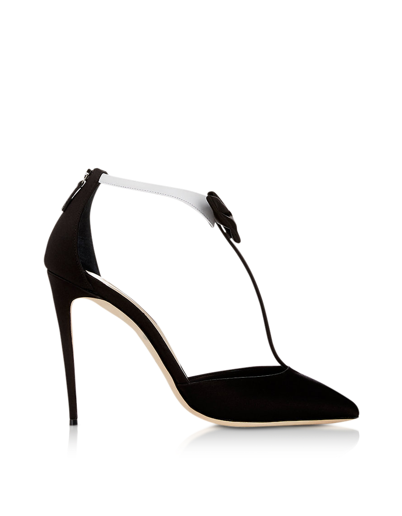 Olgana Paris Shoes, La Garconne Black Satin T-Strap Pump