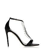 Olgana La Sensuelle Sandale aus Leder und Satin in schwarz & weiß