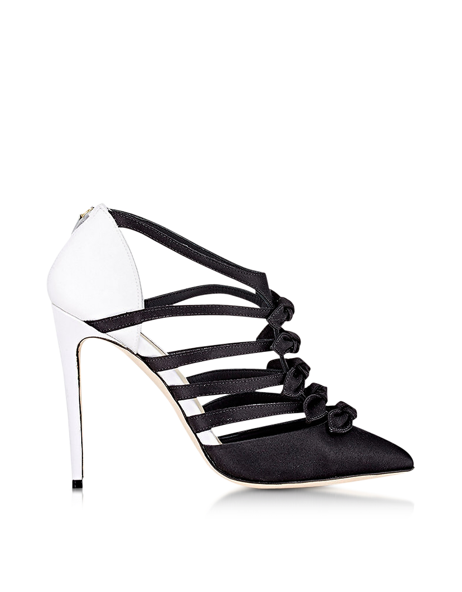 Olgana Paris Shoes, La Malicieuse Black & White Satin Pump