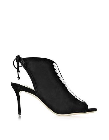 Olgana L'indispensable Sandale aus Wildleder und Leder in schwarz weiß