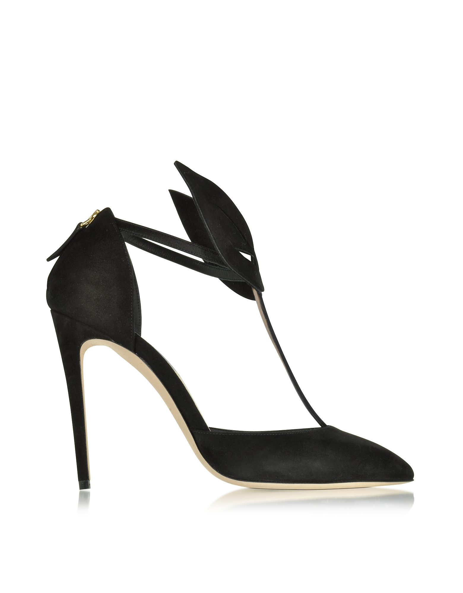 Olgana Paris Shoes, Le Masque Black Suede and Satin Pump