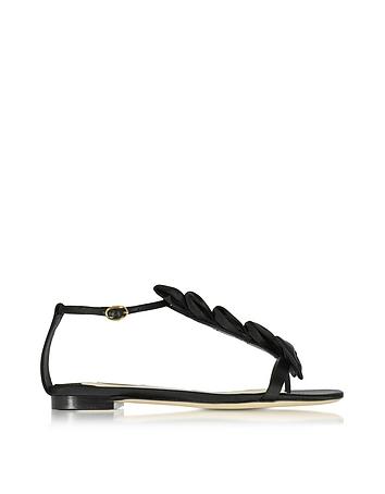 Olgana La Delicate Flat T-Riemchen Sandal aus Satin in schwarz