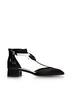 Olgana La Garconne Black and White Satin Mid-Heel Pump