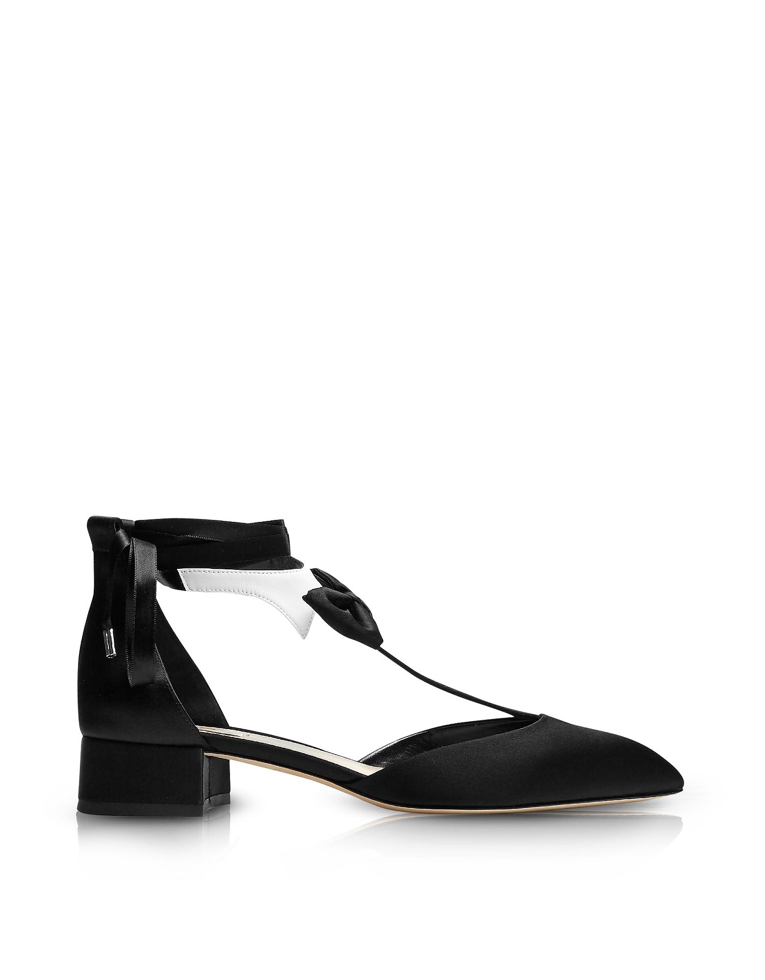 Фото La Garconne - Черные и Белые Туфли Лодочки из Атласа на Среднем Каблуке. Купить с доставкой