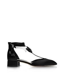 La Garconne Black and White Satin Mid-Heel Pump - Olgana Paris