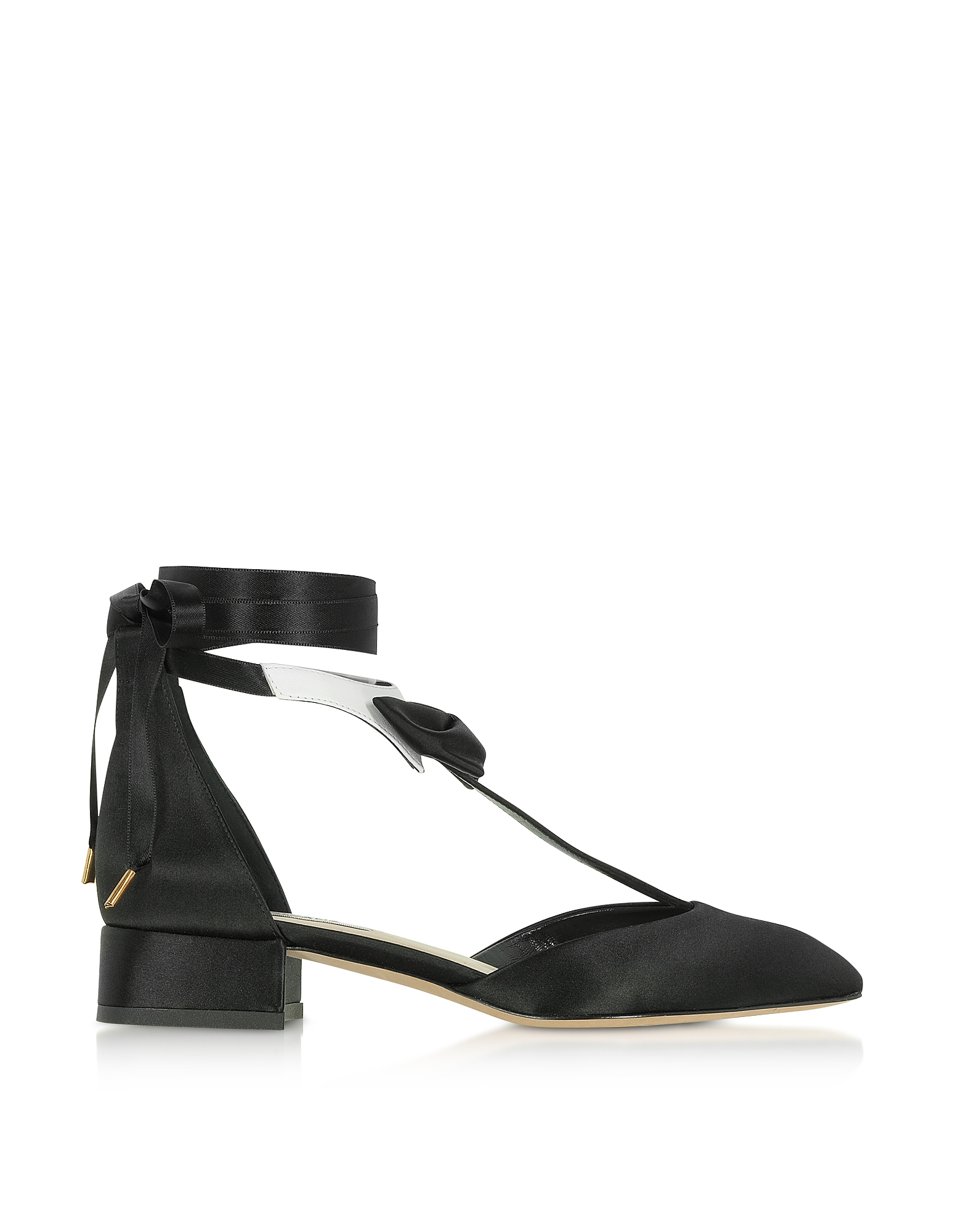 Olgana Paris Shoes, La Garconne Black and White Satin Mid-Heel Pump