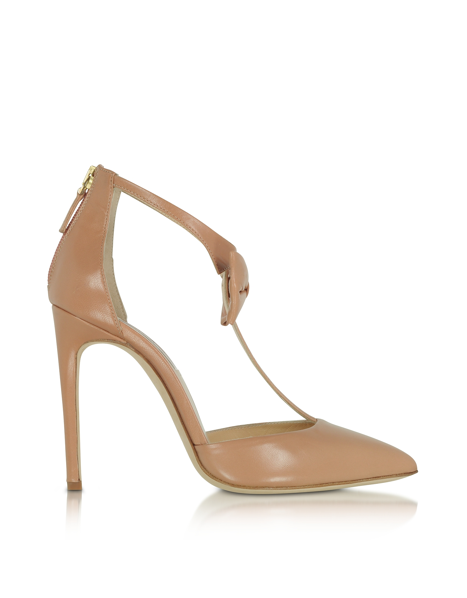 Olgana Paris Shoes, La Garconne Nude Leather High-Heel Pump
