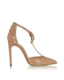 La Garconne Nude Leather High-Heel Pump - Olgana Paris