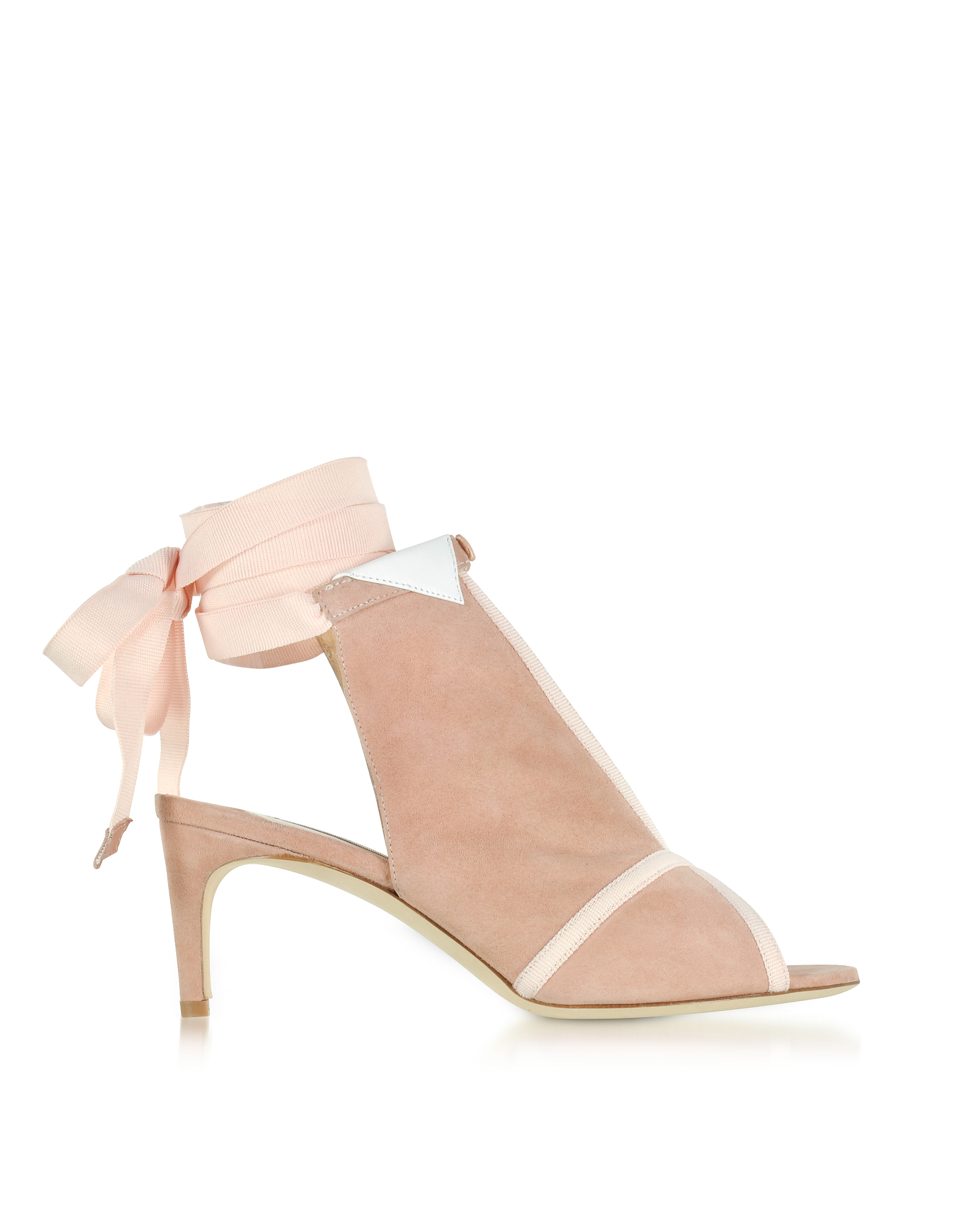 Olgana Paris Shoes, La Jolie Pink Suede Mid-Heel Sandals