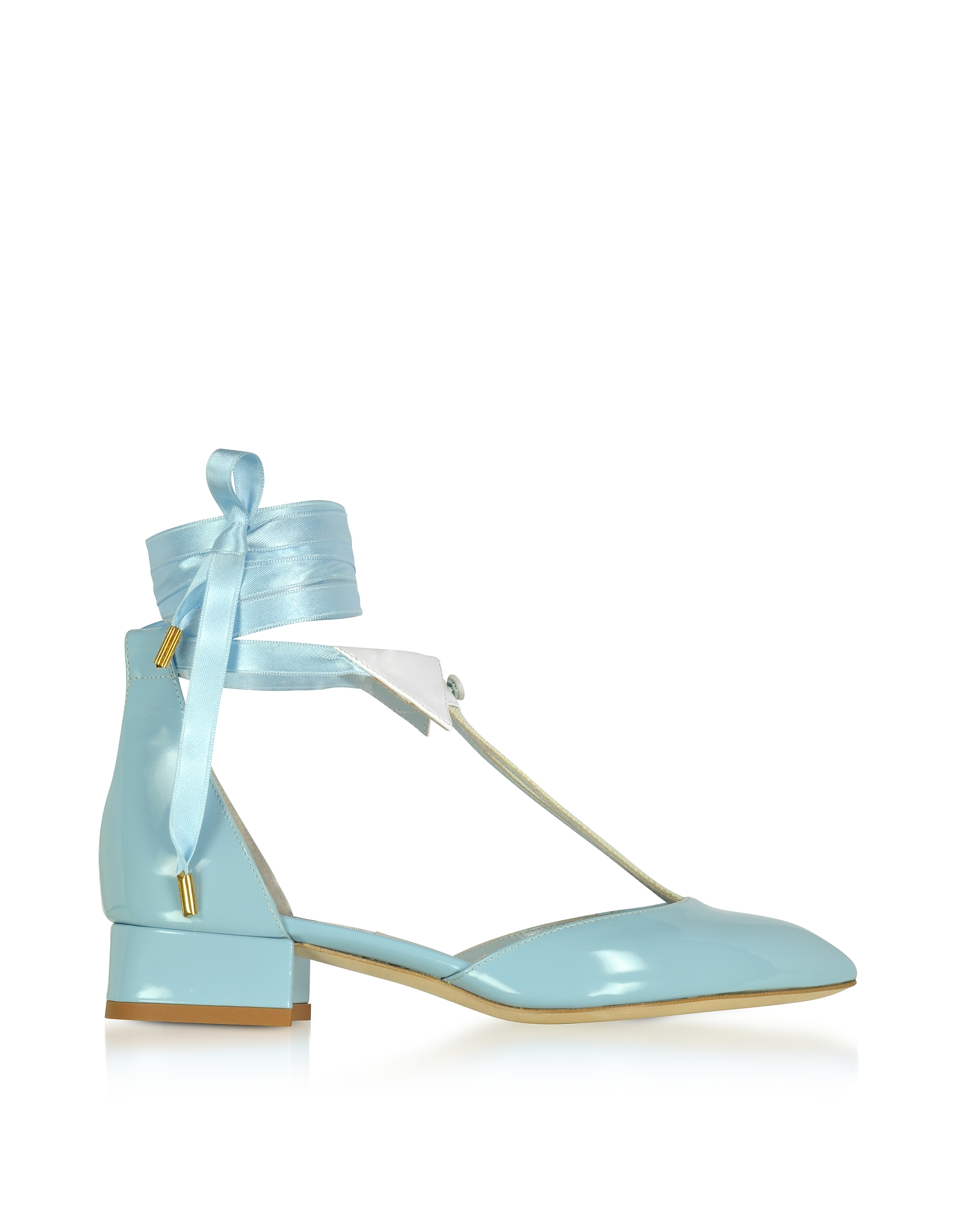 Olgana Paris Designer Shoes LIdeal Baby Blue Patent Leather MidHeel Pump