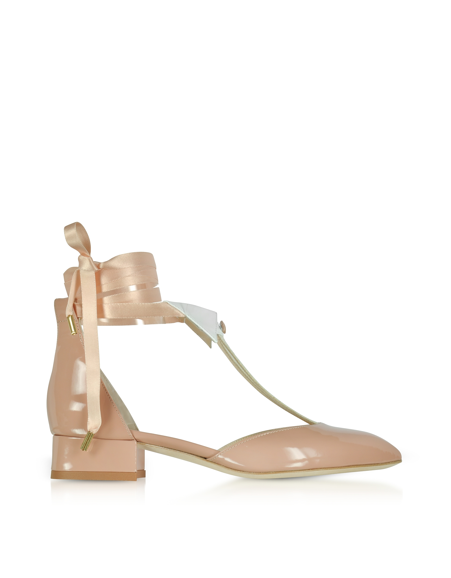Olgana Paris Shoes, L'Ideal Nude Patent Leather Mid-Heel Pump
