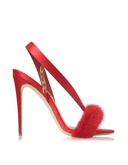 Foto Olgana Paris L'amazone Sandalo Rosso Fuoco in Satin e Pelliccia Scarpe