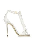 Olgana La Delicate White Satin T-Strap Sandal