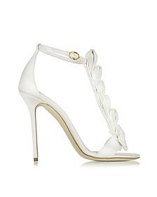 La Delicate White Satin T-Strap Sandal - Olgana Paris