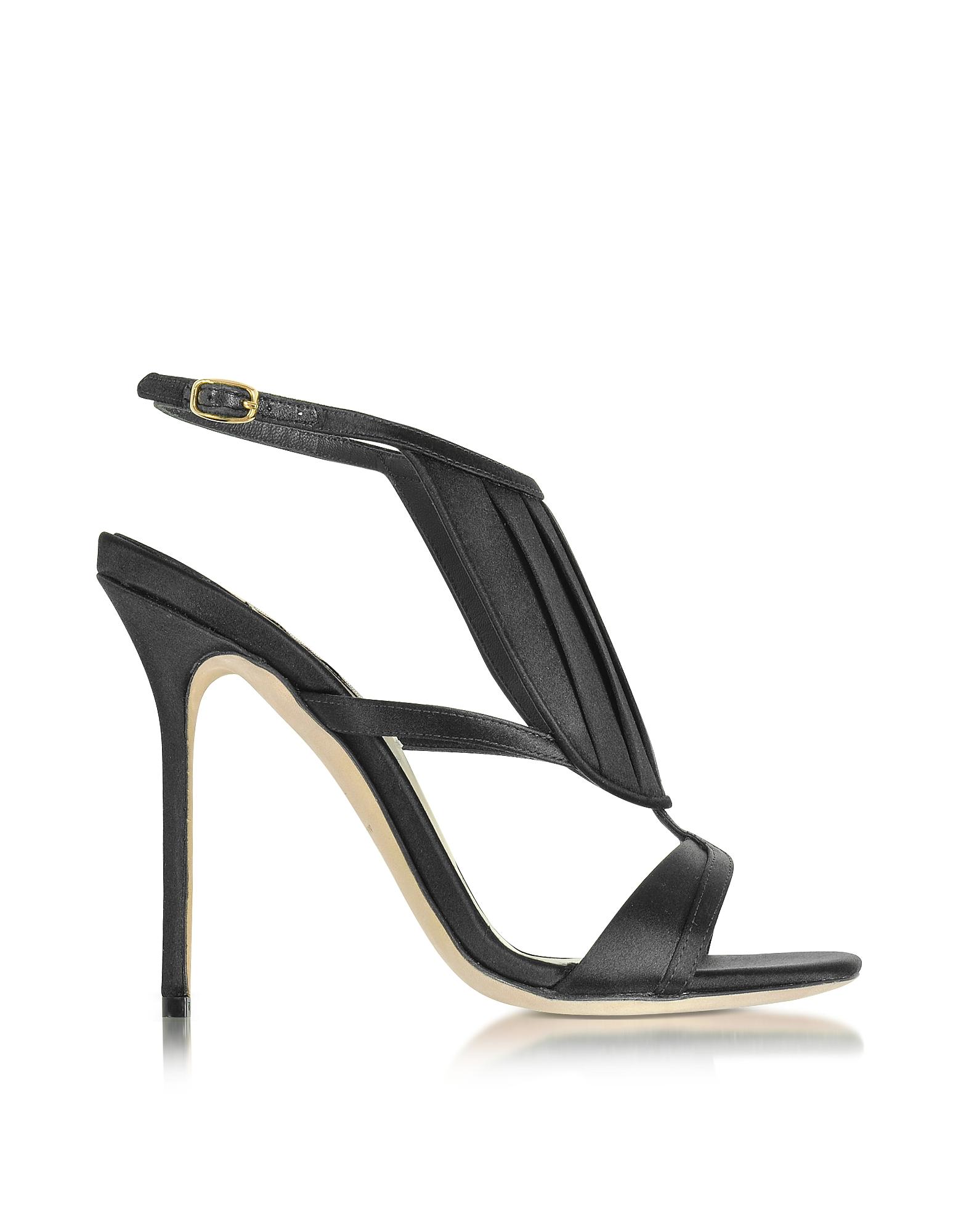 Olgana Paris Shoes, La Decouverte Black Satin Sandal