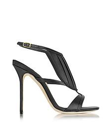 La Decouverte 黑色缎面凉鞋 - Olgana