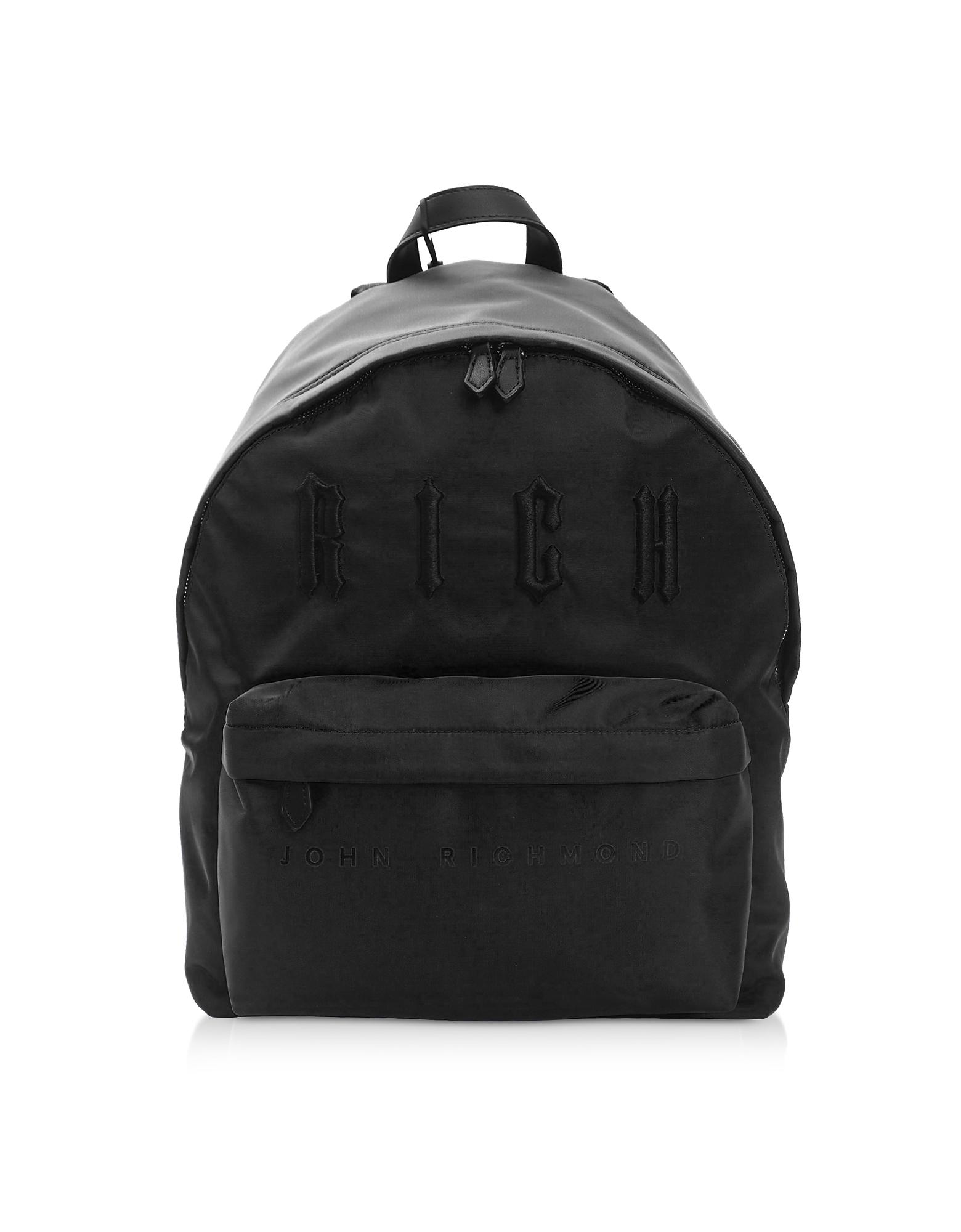 John Richmond Designer Men's Bags, Antec Black & Black Nylon Backpack
