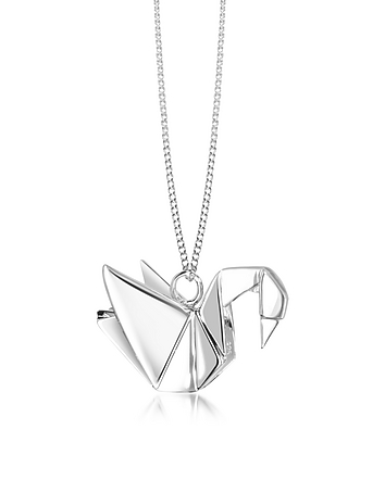 Origami - Sterling Silver Swan Pendant Long Necklace