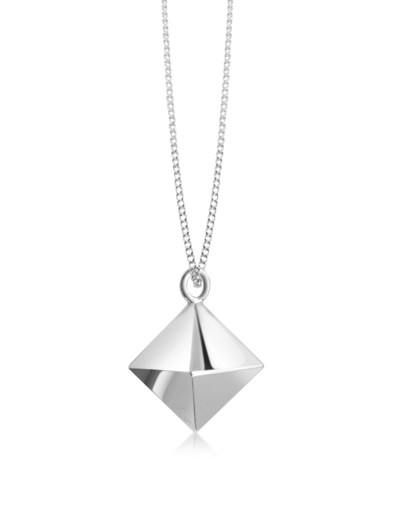 Origami Necklaces, Sterling Silver Decagem Pendant Long Necklace