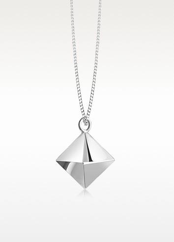Sterling Silver Decagem Pendant Long Necklace - Origami