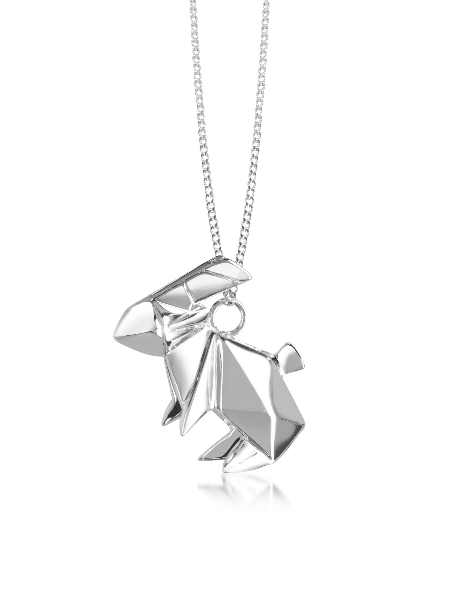 Origami Necklaces, Sterling Silver Rabbit Pendant Long Necklace