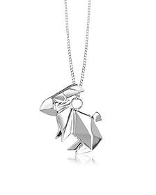 Lange Halskette aus Sterling Silber mit Hase - Origami