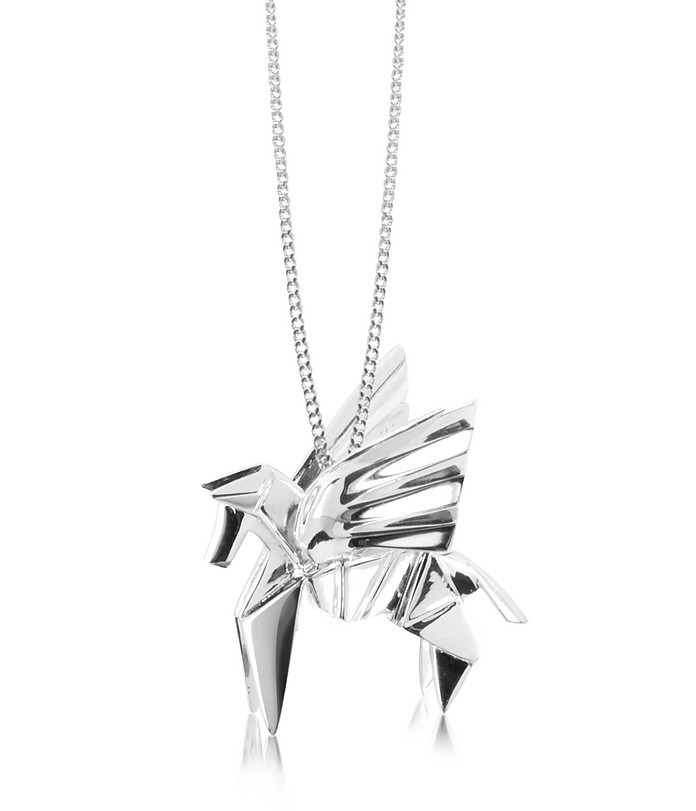 Sterling Silver Pegasus Pendant Long Necklace - Origami
