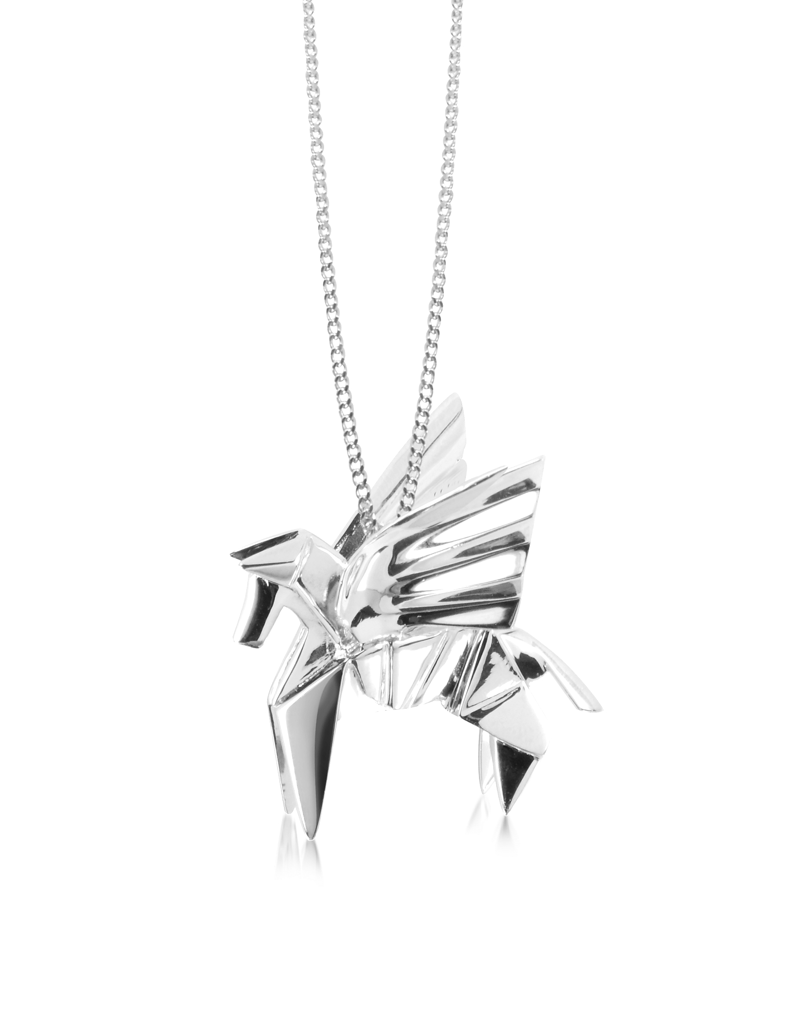Origami Necklaces, Sterling Silver Pegasus Pendant Long Necklace