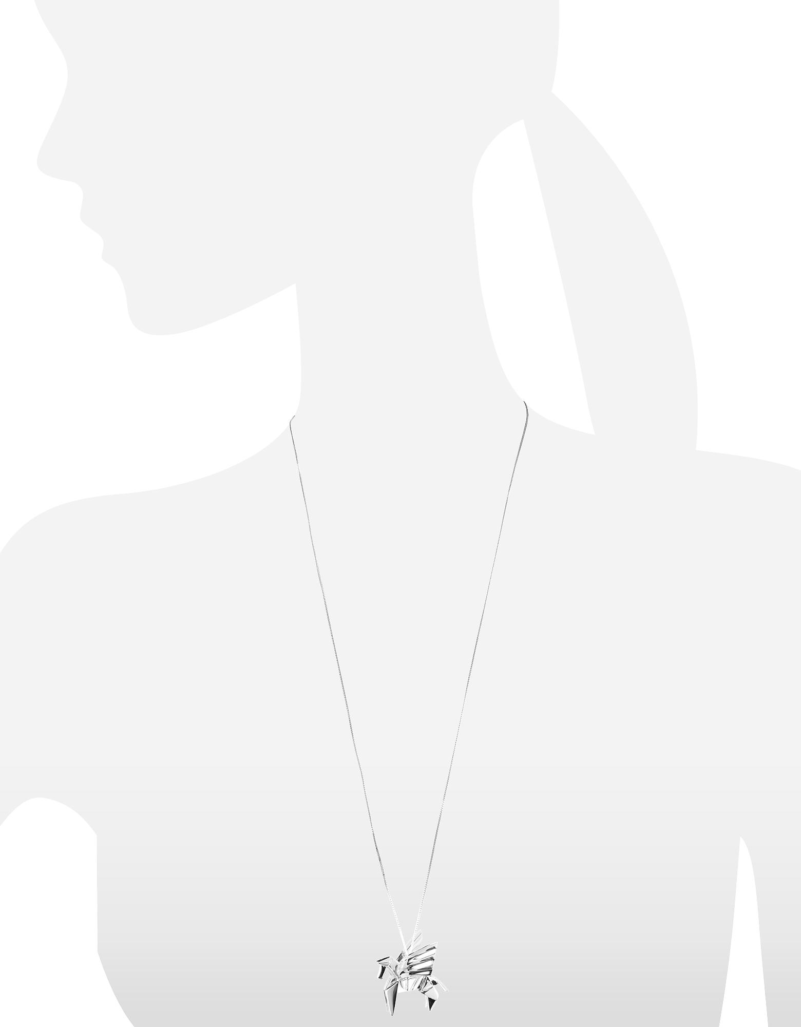 Фото Длинное Ожерелье из Серебра 925 пробы с Подвеской-Пегасом. Купить с доставкой