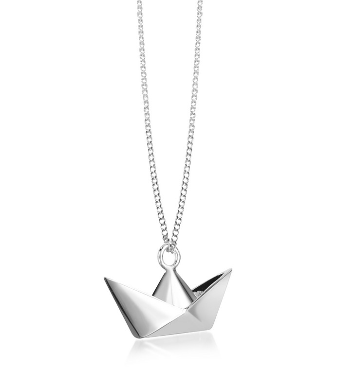 Sterling Silver Boat Pendant Necklace - Origami