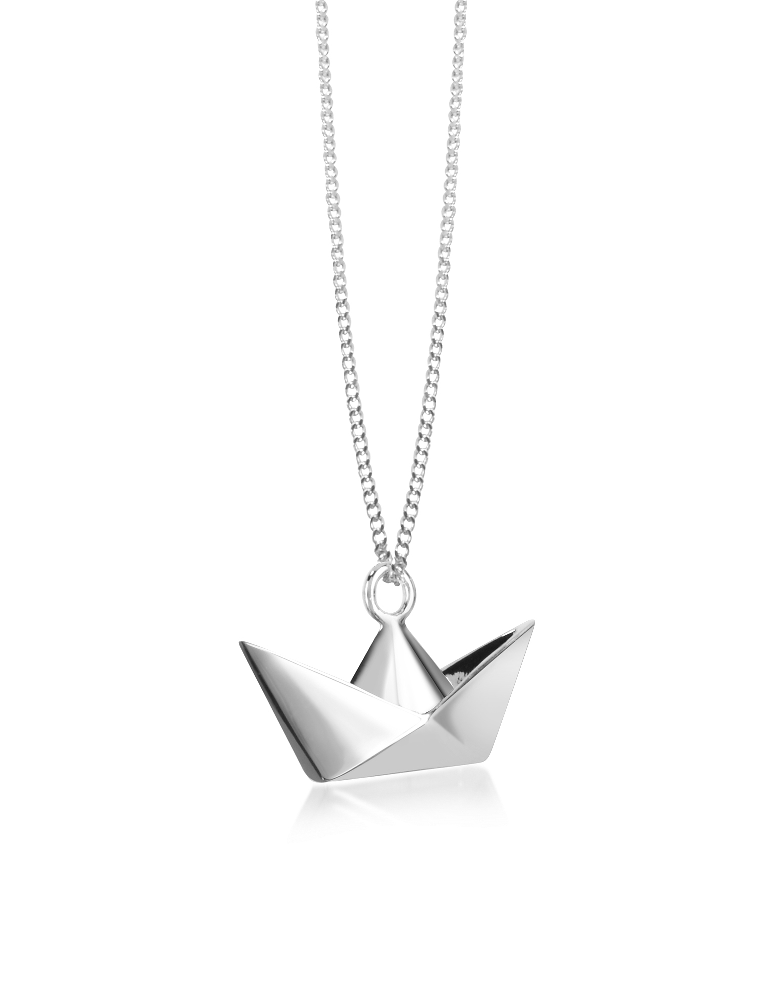 Origami Necklaces, Sterling Silver Boat Pendant Necklace