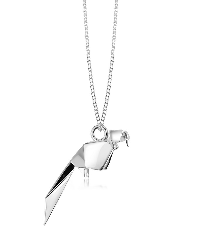 Sterling Silver Parrot Pendant Necklace - Origami