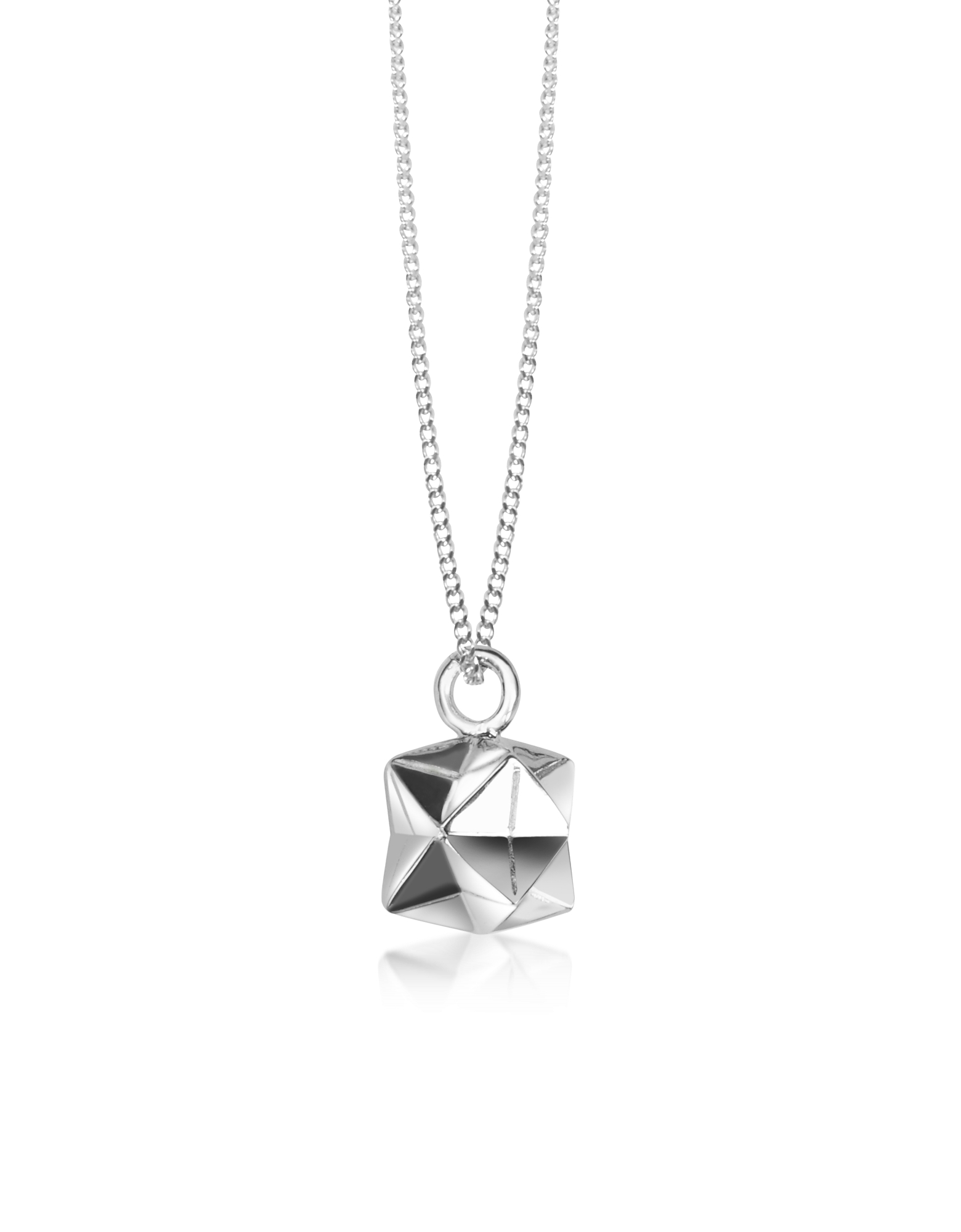 Origami Necklaces, Sterling Silver Magic Ball Pendant Necklace