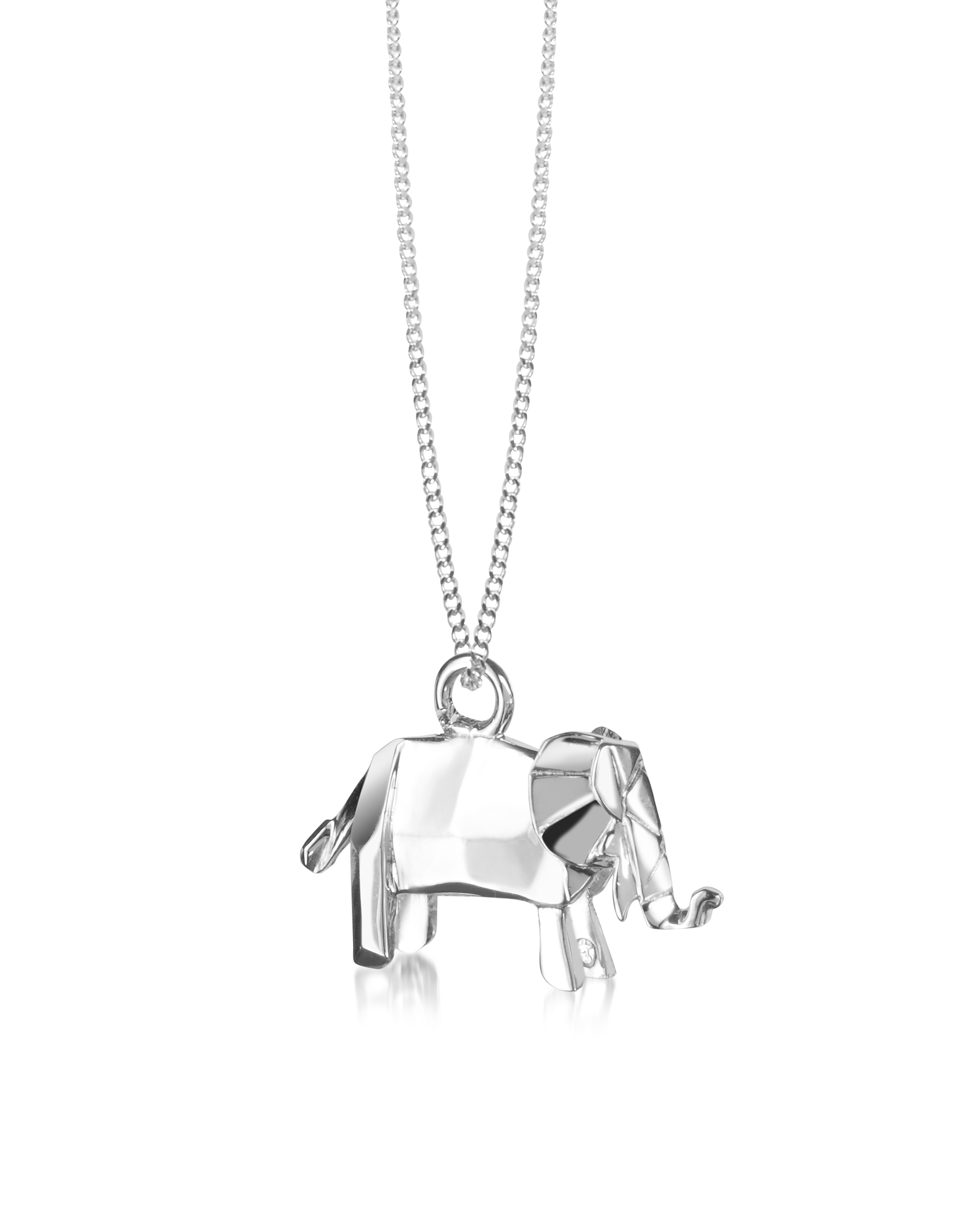 Origami Necklaces, Sterling Silver Elephant Pendant Necklace