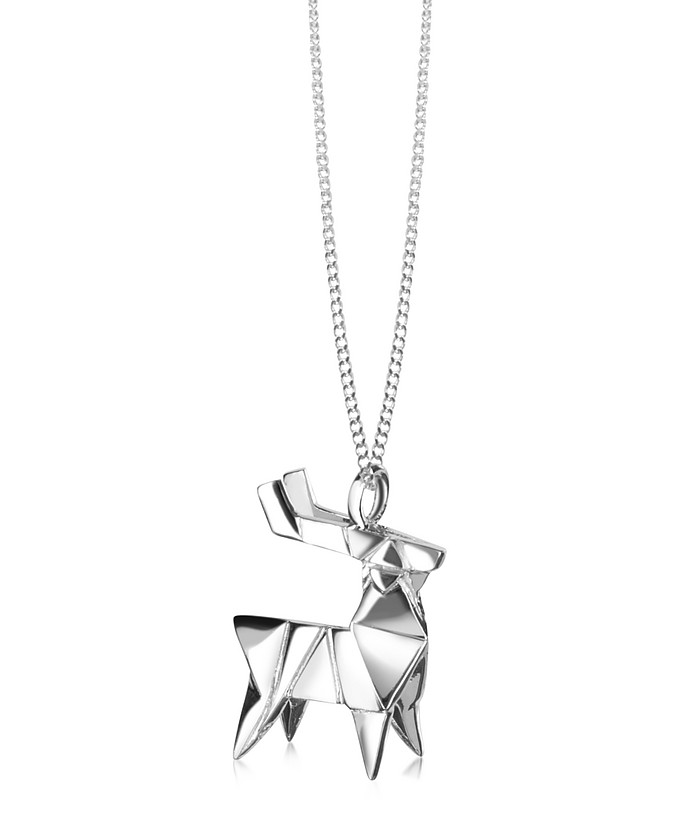 Sterling Silver Deer Pendant Necklace - Origami