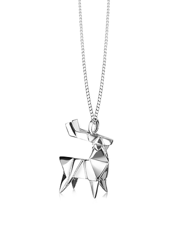 Origami - Sterling Silver Deer Pendant Necklace