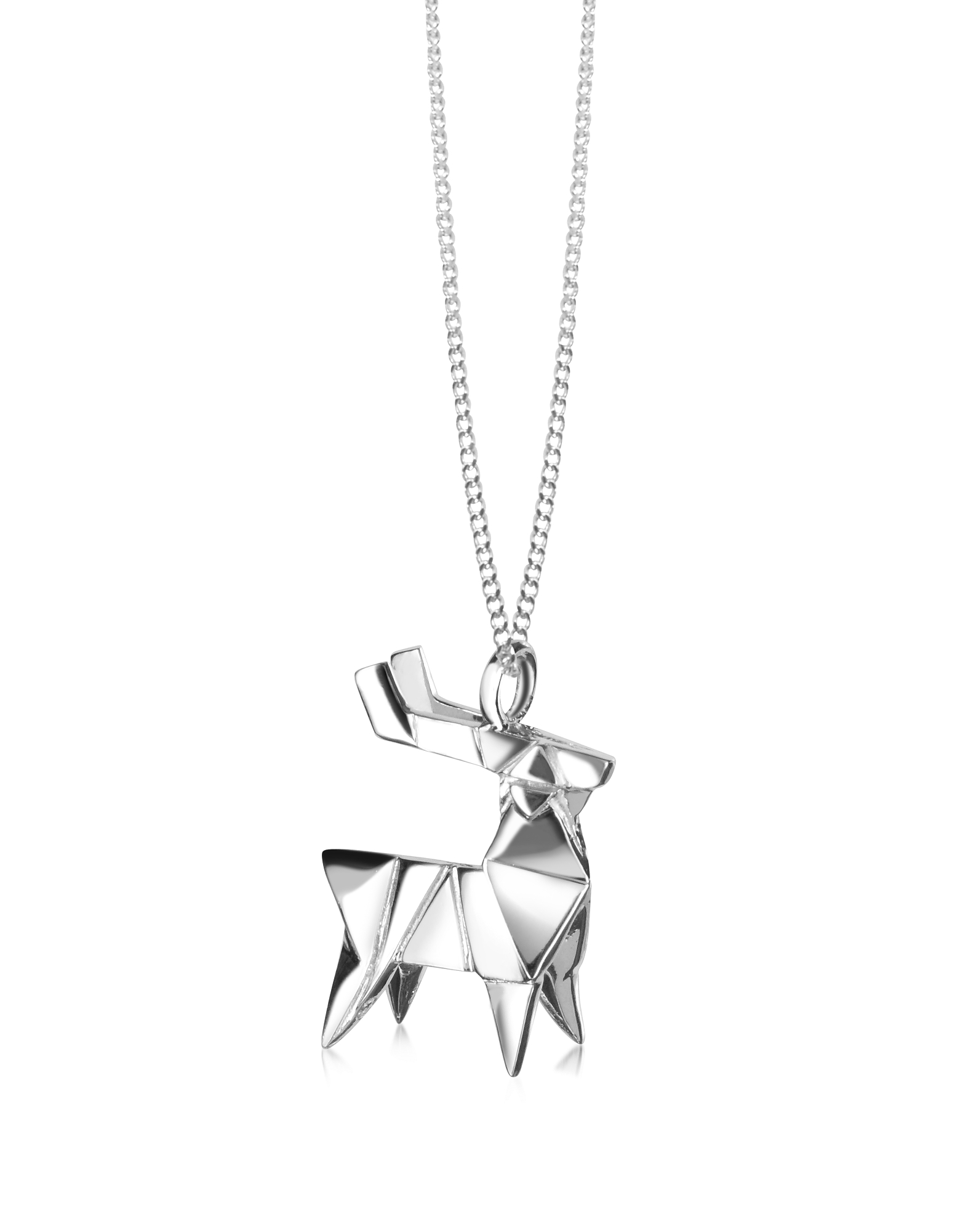 Origami Necklaces, Sterling Silver Deer Pendant Necklace