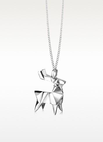 Sterling Silver Deer Pendant Necklace - Origami