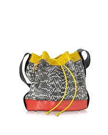 Color Block Ayers and Leather Bucket Bag - Corto Moltedo