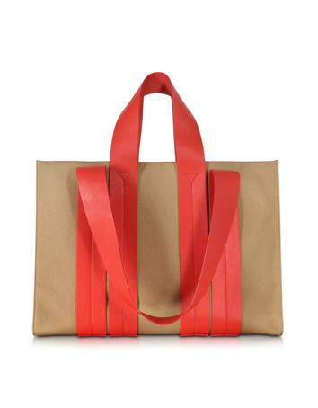 Costanza Beach Club Red Leather and Sand Canvas Tote Bag