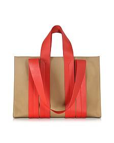 Costanza Beach Club Red Leather and Sand Canvas Tote Bag - Corto Moltedo