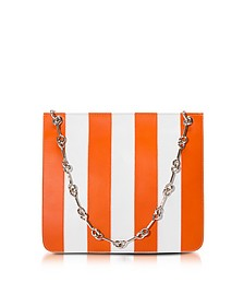 Jesse Stripes Persimmon and White Shoulder Bag - Corto Moltedo