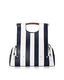 Priscilla New White and Navy Stripes Tote - Corto Moltedo