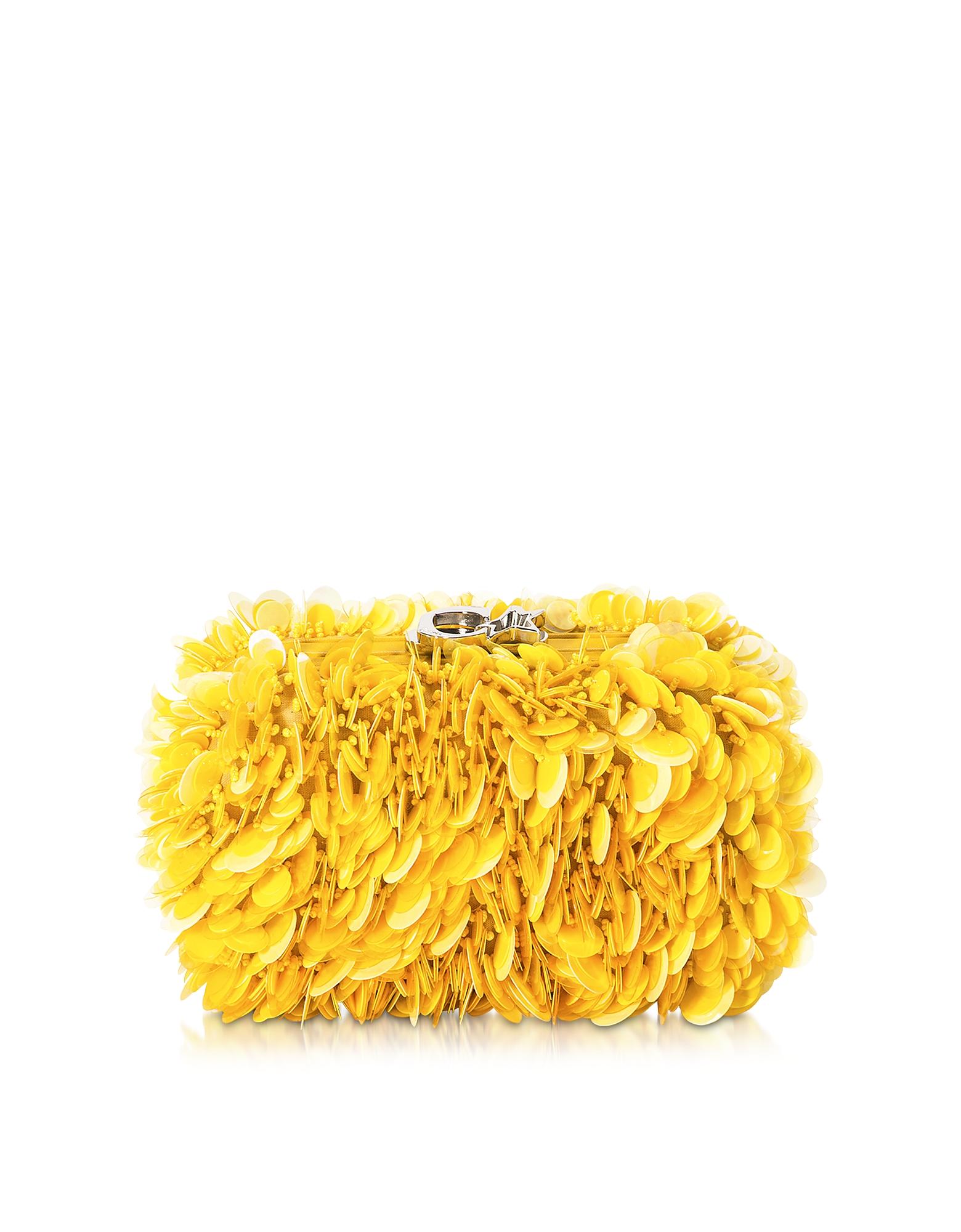 Corto Moltedo Handbags, Susan C Star Yellow Explosion Nappa Leather Pochette w/Chain Strap