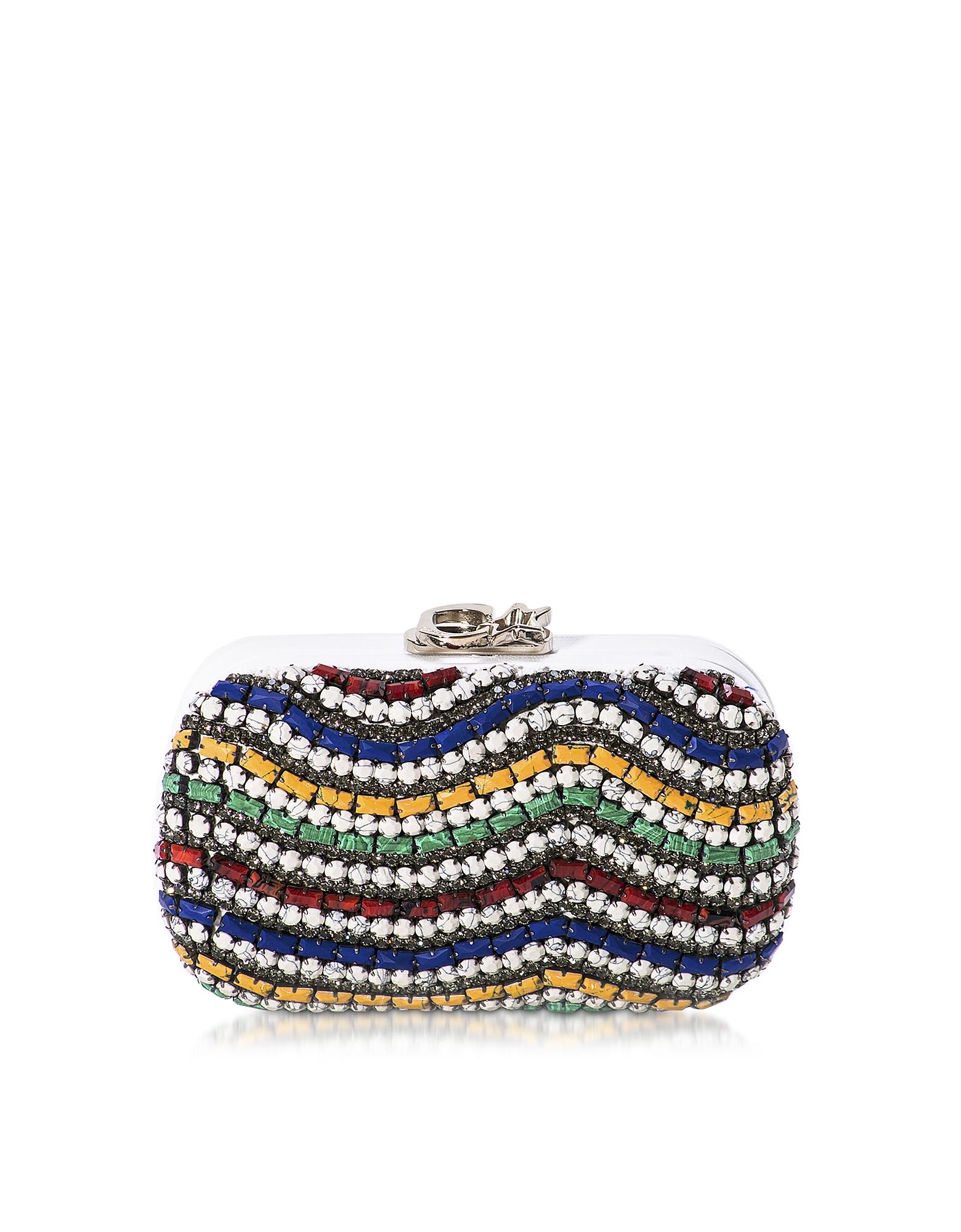 Corto Moltedo  Handbags Susan C Star White Nappa Leather and Multicolor Stones Pochette w/Chain Strap