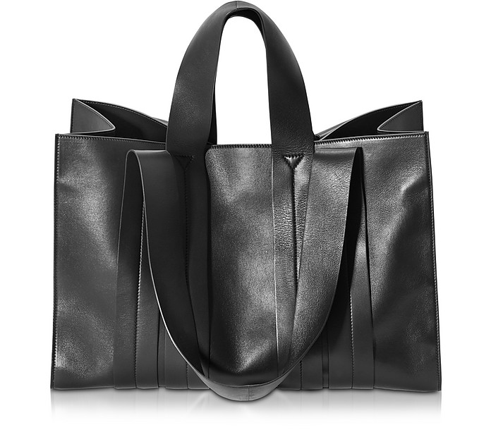 Costanza Beach Club Large Black Nappa Leather Tote - Corto Moltedo