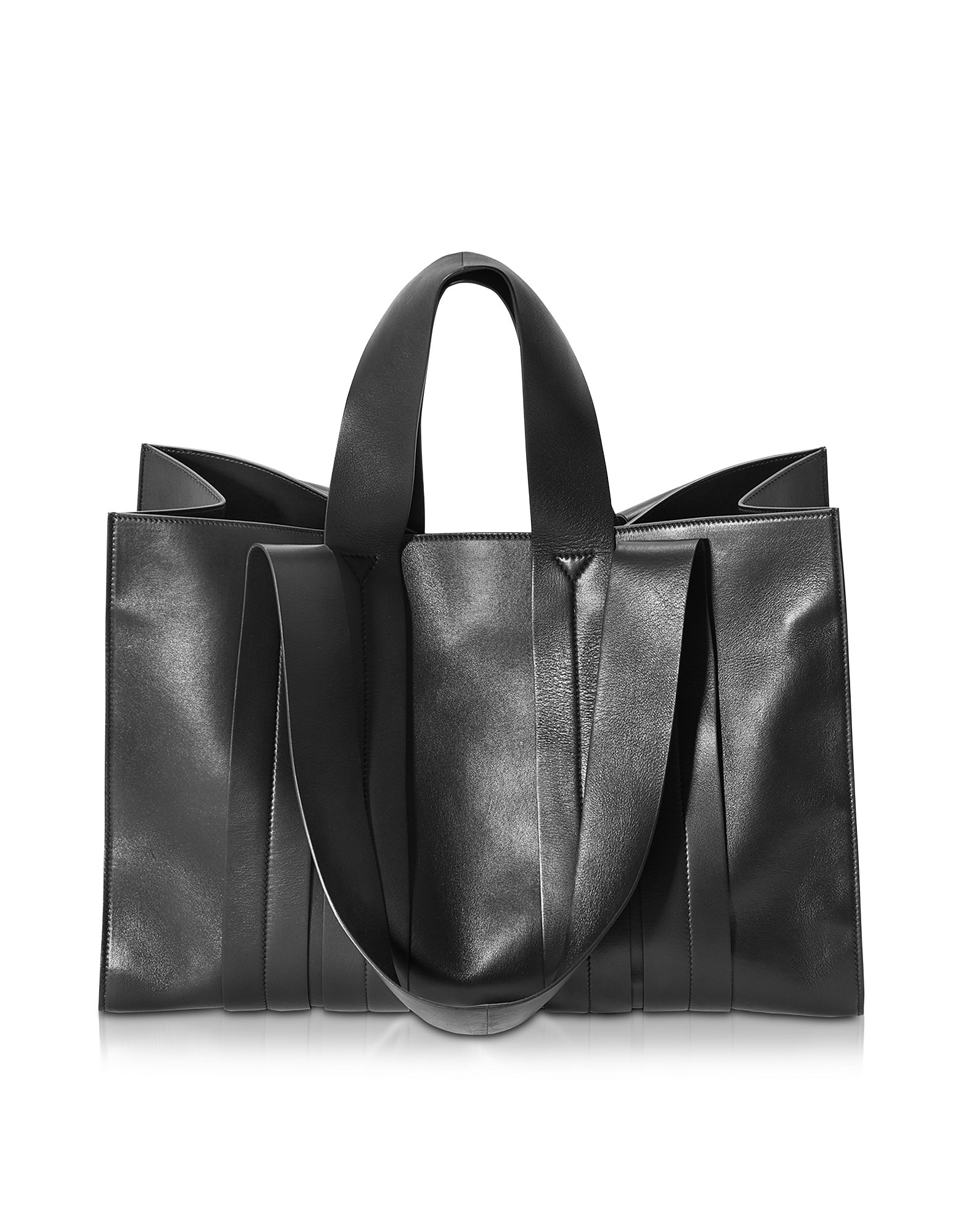 Corto Moltedo Designer Handbags, Costanza Beach Club Large Black Leather Tote (Luggage & Bags) photo